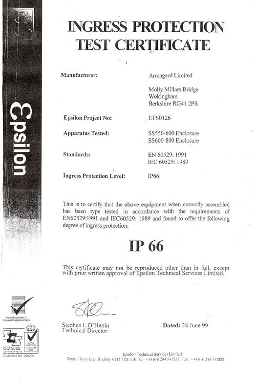 IP66 Certificate